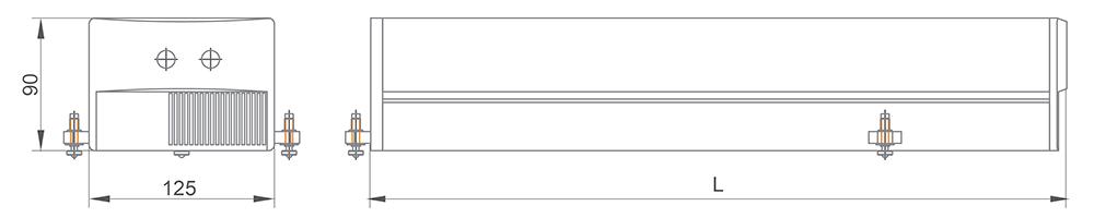 Габаритные размеры одноимпульсного DPSS лазера DF141