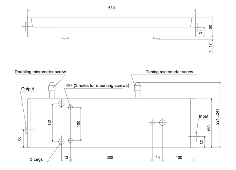 Dimensions of tunable Ti:Sapphire laser CF125