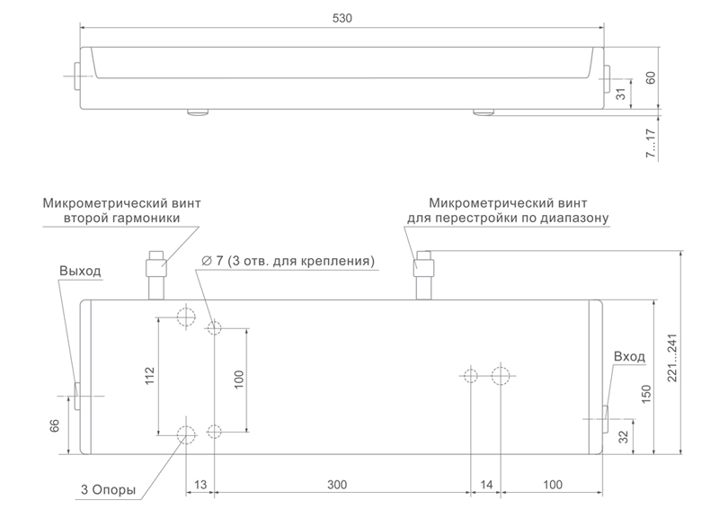 Габаритные размеры лазера CF125