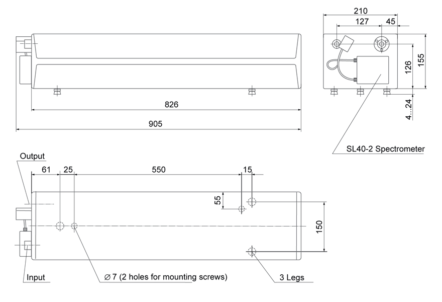 Dimensions of the automated tunable laser CF131