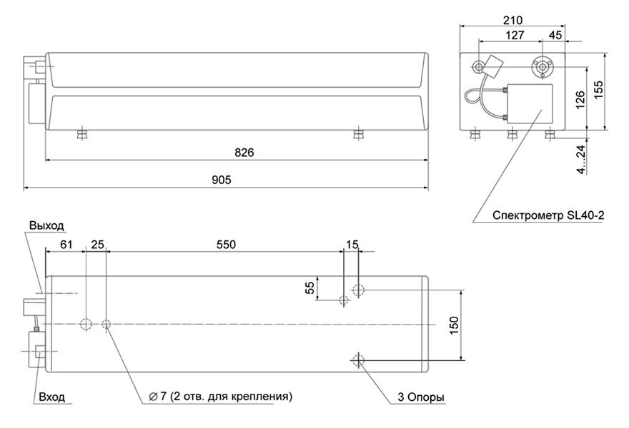 Габаритные размеры лазера CF131