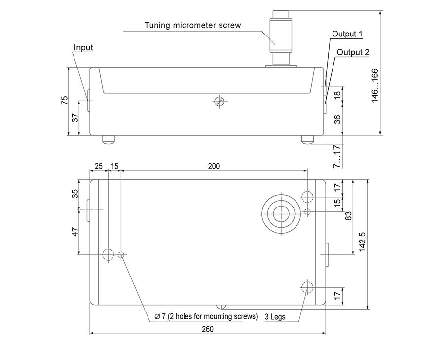 Dimensions of optical parametric oscillator COPO2200M