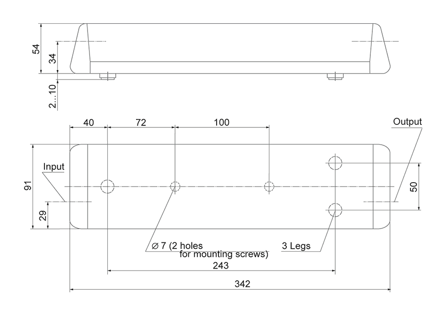 Dimensions of CRS14 Raman shifter