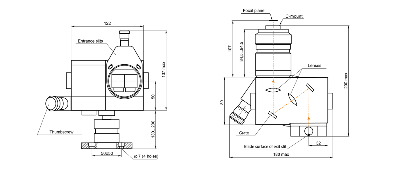 Dimensions of spectrograph SL100M
