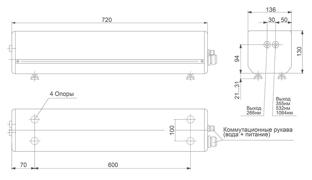 Габаритные размеры импульсных Nd:YAG лазеров LF113 и LF114