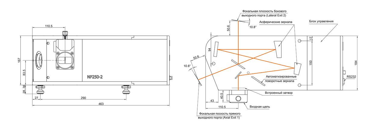 Габаритный чертеж спектрографа NP250-2