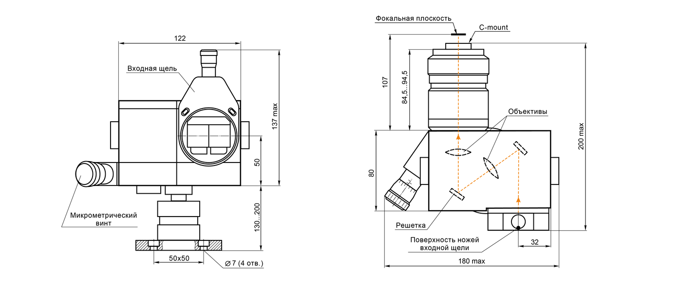 Габаритные размеры спектрографа SL100M