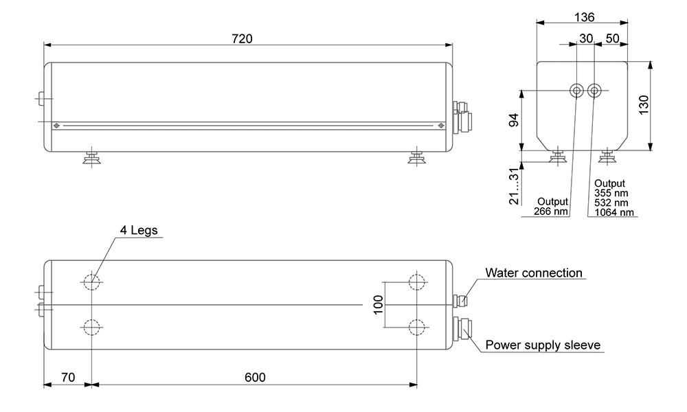 Dimensions of pulsed Nd:YAG lasers LF113 and LF114
