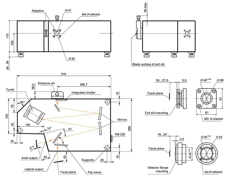 Dimensional drawing of MS350 monochromator-spectrograph
