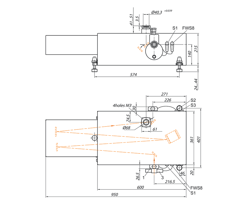 Dimensional drawing of MS750 series monochromator-spectrograph