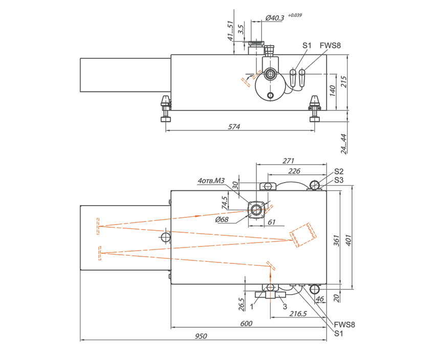 Габаритный чертеж монохроматора-спектрографа серии MS750