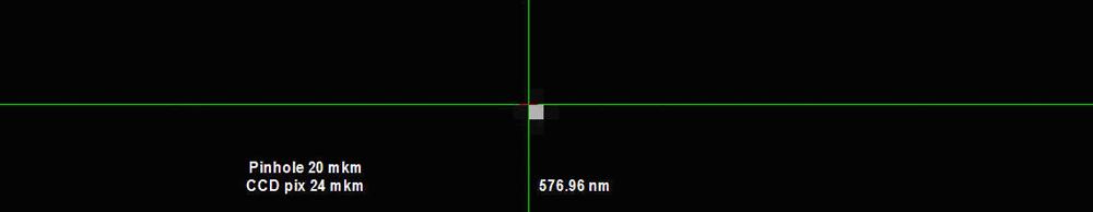 Спектральное изображение пинхола 20х20 μм полученное на монохроматоре-спектрографе MS7504i с помощью многоканального детектора