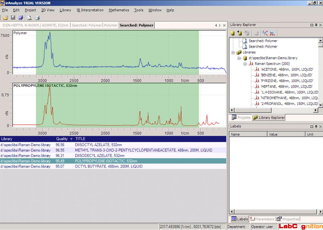 Software NanoSP: polymer analysis