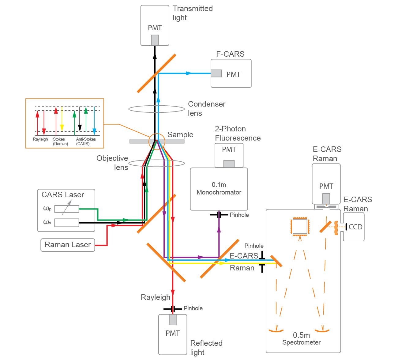 Оптический стол: схема модулей системы Confotec CARS