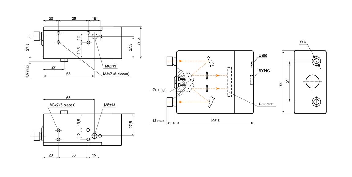 Dimensions of spectrometer SL40 Duo