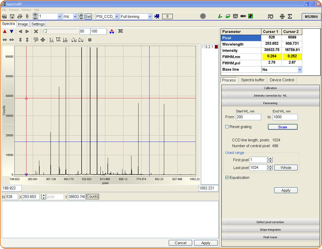 SpectraSP: получение панорамных спектров