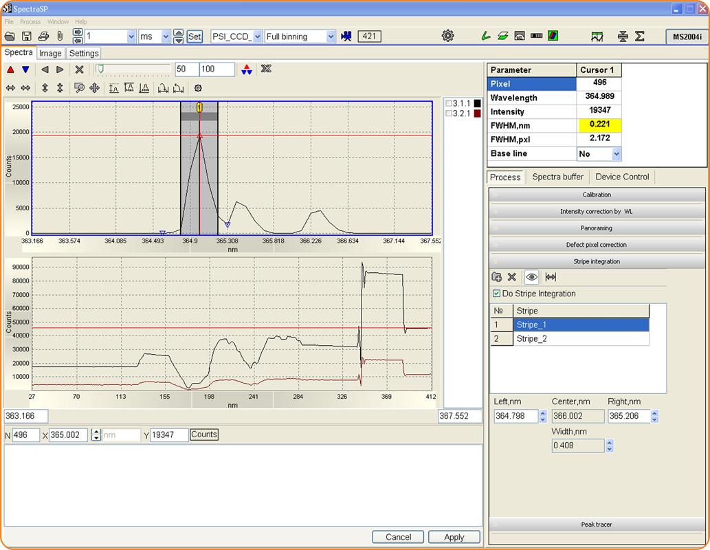 SpectraSP: интегрирование в полосе